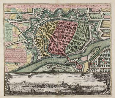 Antique Maps, Seutter, Germany, Baden-Württemberg, Ulm, 1735: Ulma Memorabilis ac Permunita Libera Imperii Civitas ad Danubium... / Ulm eine Considerable Freye Reichs Statt in Schwaben...