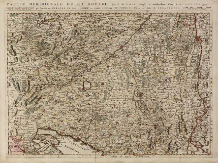 Antike Landkarten, Ottens, Deutschland, Baden-Württemberg, Schwaben, 1730: Partie Meridionale de la Souabe