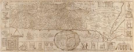 Antike Landkarten, Tirinus, Heiliges Land, Palästina, 1638: Chorographia Terrae Sanctae in Angustiorem formam Redacta et ex Variis Auctoribus a Multis Erroribus Expurgata