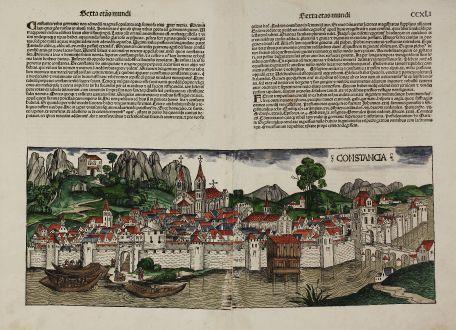 Antike Landkarten, Schedel, Deutschland, Baden-Württemberg, Konstanz, 1493: Constancia