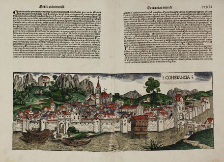 Antique Maps, Schedel, Germany, Baden-Württemberg, Constance, 1493: Constancia