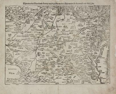 Antike Landkarten, Münster, Deutschland, Baden-Württemberg, Bayern, Schwaben: Schwaben und Bayerlandt darbey auch Begriffen werden Schwartzwald, Otenwald, und Nordgow.