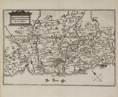 Antike Landkarten, Merian, Deutschland, Baden-Württemberg, Schwaben, 1643: Comitatus Tetnang illustr. Comitum de Montfort, et confinia.