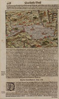 Antike Landkarten, Münster, Deutschland, Baden-Württemberg, Bodensee, 1550: [Bodnsee]