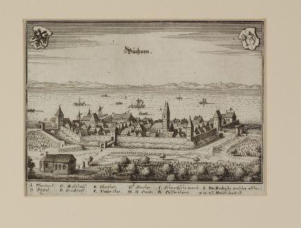 Antike Landkarten, Merian, Deutschland, Baden-Württemberg, Friedrichshafen: Buchorn