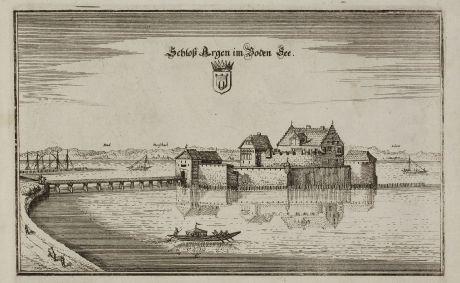Antike Landkarten, Merian, Deutschland, Baden-Württemberg, Bodensee, Langenargen: Schloß Argen im Boden See