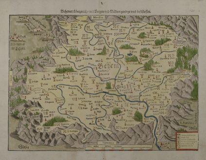 Antike Landkarten, Münster, Tschechien - Böhmen, 1570: Behemer Koenigreich, mit Bergen und Waelden geringsumb beschlossen