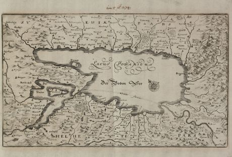 Antike Landkarten, Merian, Deutschland, Bodensee, 1660: Lacus Podamicus / Der Boden See