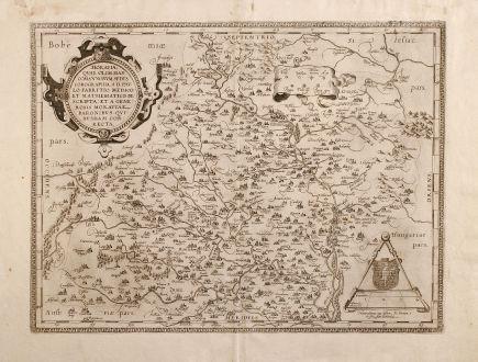 Antique Maps, Ortelius, Czechia - Bohemia, Moravia, 1579: Moraviae, quae olim Marcomannoarum Sedes, Corographia