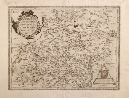 Antike Landkarten, Ortelius, Tschechien - Böhmen, Maehren, 1579: Moraviae, quae olim Marcomannoarum Sedes, Corographia