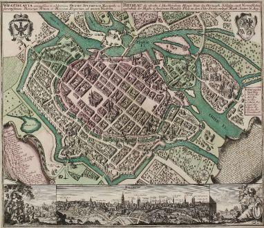 Antike Landkarten, Seutter, Polen, Schlesien, Breslau, 1735: Wratislavia Antiquissima et Celeberrima Ducat. Silesiaci Metropolis ... / Breslau due Uhralte u Hochberuhmte Haupt Statt des...