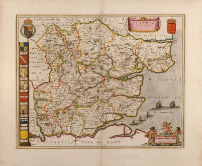 Antique Maps, Blaeu, British Islands, Essex, 1660: Essexia Comitatus