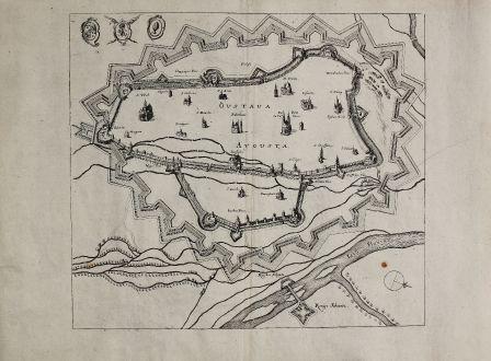 Antike Landkarten, Merian, Deutschland, Augsburg, 1650: Gustava / Augusta