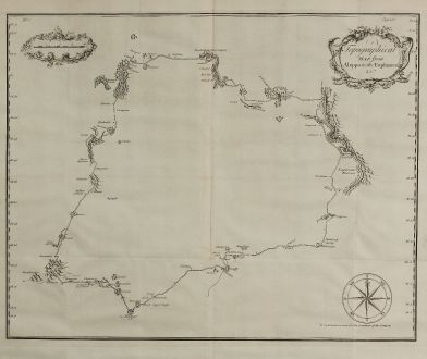 Antike Landkarten, Drummond, Mittlerer Osten, Syrien, Aleppo, Euphrates, 1754: Topographical Map from Aleppo to the Euphrates & co.