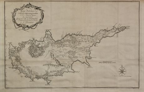 Antike Landkarten, Drummond, Zypern, 1754: To George Wakeman Esq, Consul for his Majesty the King of Great Britain, in the Island of Cyprus. This Map of the Island of...