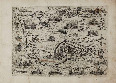 Antique Maps, Camocio, Cyprus, Famagusta, 1571: Famagosta