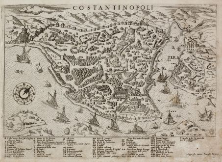 Antique Maps, Camocio, Turkey, Istanbul, Constantinople, 1566-71: Costantinopoli