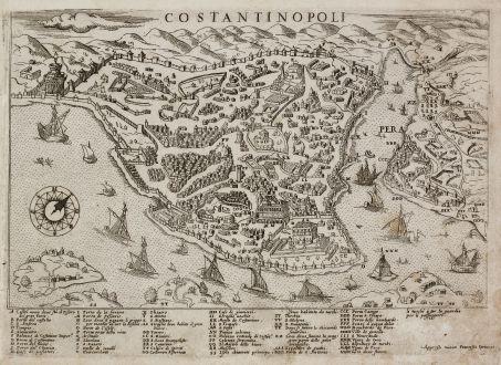 Antique Maps, Camocio, Turkey, Istanbul, Constantinople, 1566-71: Costantinopoli
