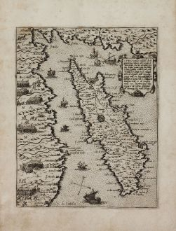 Antique Maps, Camocio, Cyprus, before July 1570: Cipro insula nobiliss.a ch di grandezza tutte le altre ...