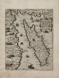 Antike Landkarten, Camocio, Zypern, vor Juli 1570: Cipro insula nobiliss.a ch di grandezza tutte le altre ...