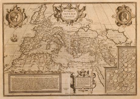 Antike Landkarten, Ortelius, Europa Kontinent, Roemisches Reich, 1581: Romani Imperii Imago