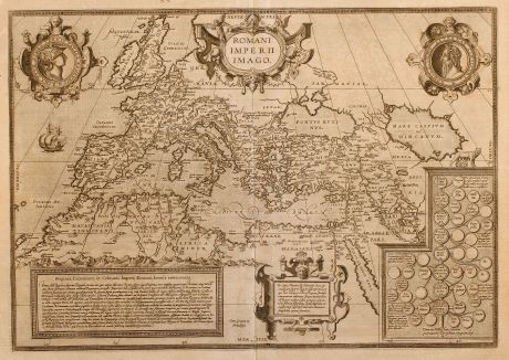 Antique Maps, Ortelius, Europe Continent, Roman Empire, 1581: Romani Imperii Imago
