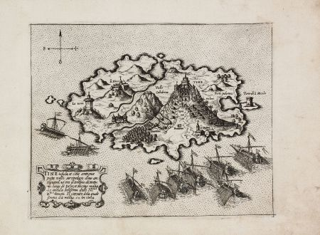 Antique Maps, Camocio, Greece, Tinos, 1571: Tine insula, e citte antiqua posta nella Arcipelago...