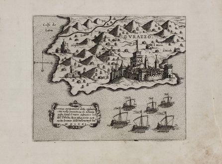 Antike Landkarten, Camocio, Balkan, Albanien, Durres, 1571: Durazzo antiquamente detta epidamna citta nella provincia di Albania ... MDLXXI