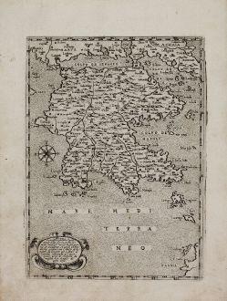 Antike Landkarten, Camocio, Griechenland, Peloponnes, 1571: Morea Peninsula ...