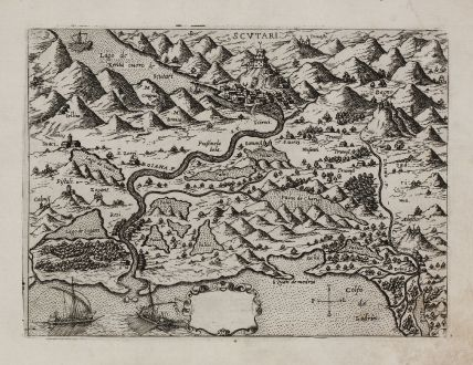 Antique Maps, Camocio, Balkan, Albania, Shkodra, Montenegro, 1571: [Albania, Montenegro, Shkodra]