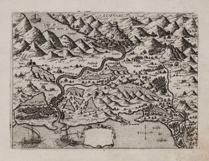 Antike Landkarten, Camocio, Balkan, Albanien, Shkodra, Montenegro, 1571: [Albania, Montenegro, Shkodra]
