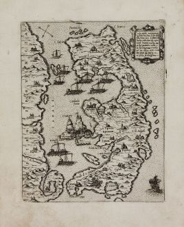 Antique Maps, Camocio, Greece, Corfu, 1571: Corfu insula antiquamente detta Malena...