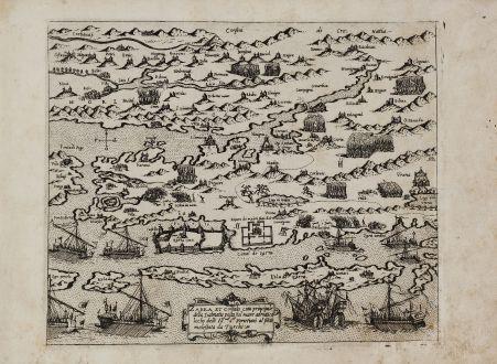 Antique Maps, Camocio, Balkan, Croatia, Zadar, 1571: Zarra et Contado citta principale della Dalmatia posta sul mare adriatico loco Ihr.me Sri. Venetiani al pnte molestata aa...