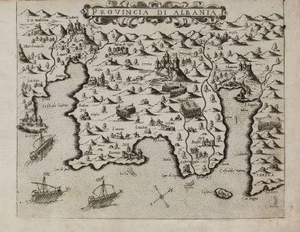 Antike Landkarten, Camocio, Balkan, Albanien, 1571: Provincia di Albania