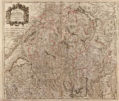 Antike Landkarten, Danckerts, Schweiz, 1680: Novissima et Accuratissima Helvetiae, Rhaetiae, Valesiae et Partis Sabaudiae Tabula