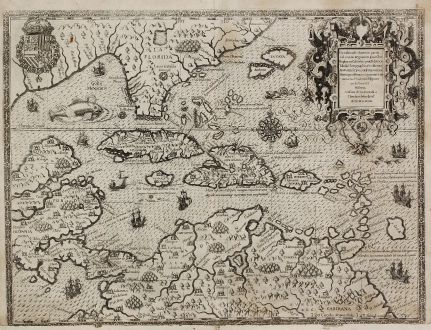 Antique Maps, de Bry, Central America - Caribbean, West Indies, Florida: Occidentalis Americae Partis, vel, Earum Regionum quas Christophorus Columbus Primu Detexit Tabula Chorographicae Multorum...