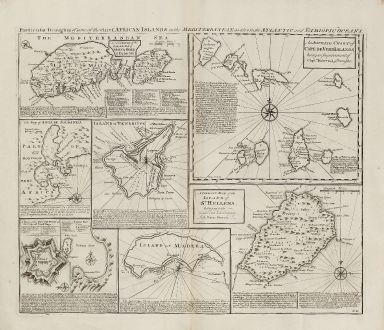 Antike Landkarten, Bowen, Mittelmeer, Mittelmeer, Malta, Kap Verde, Teneriffa, St. Helena: Particular Draughts of Some of the Chief African Islands in the Mediterranean, as also in the Atlantic and Ethiopic Oceans