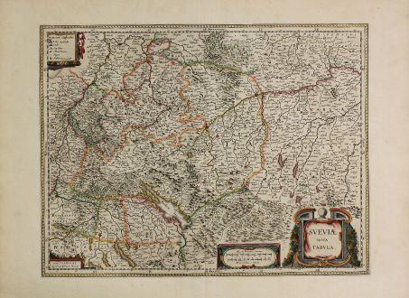 Antike Landkarten, Blaeu, Deutschland, Baden-Württemberg, Schwaben, 1630: Sueviae Nova Tabula.
