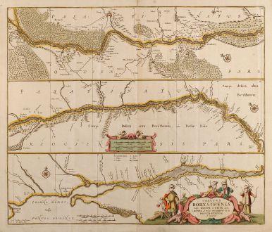 Antique Maps, Janssonius, Russia, Dnjepr, 1680: Tractus Borysthenis vulgo Dniepr et Niepr Dicti, a Kiovia ad Urbum Oczakow Ubi in Pontum Euxinum se Exonerat