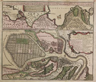 Antique Maps, Seutter, Russia, Saint Petersburg, 1734: Nova et accuratissima Urbis St. Petersburg ... / Neue u. Accurate abbildung der der von dem großen Ruß. Kaiser Petro...