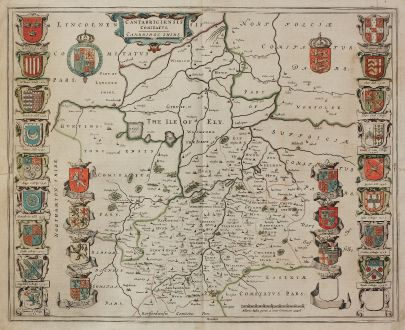 Antique Maps, Blaeu, British Islands, England, Cambridgeshire, Cambridge: Cantabrigiensis Comitatus, Cambridge Shire.