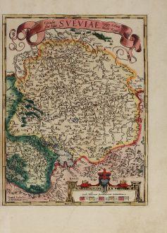 Antike Landkarten, Ortelius, Deutschland, Baden-Württemberg, Schwaben, Bodensee: Circulus sive Liga Sueviae, vulgo Schwabische Kraiss