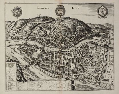 Antique Maps, Merian, France, Lyon, 1657: Lugdunum - Lyon