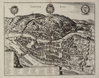 Antike Landkarten, Merian, Frankreich, Lyon, 1657: Lugdunum - Lyon