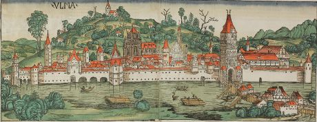 Antique Maps, Schedel, Germany, Baden-Württemberg, Ulm, 1493: Ulma