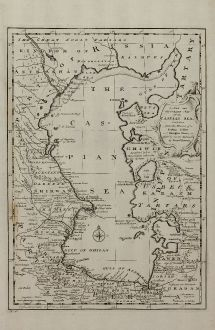 Antike Landkarten, Bowen, Russland, Kaspisches Meer, 1747: A New & Accurate Map of the Caspian Sea ...