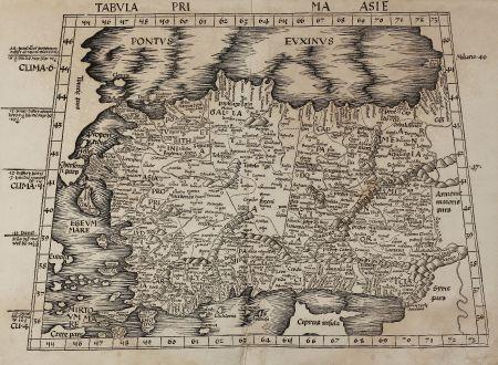 Antike Landkarten, Waldseemüller, Türkei, Zypern, 1513 oder 1520: Tabula Prima Asie