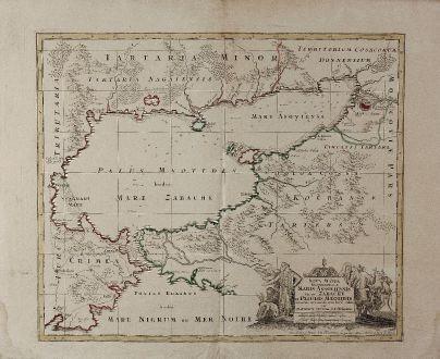 Antike Landkarten, Seutter, Ukraine, Asowsches Meer, 1730: Nova Mappa Geographica Maris Assoviensis vel de Zabache, et Paludis Maeotidis ...