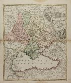 Old coloured map of the Black Sea. Printed in Nuremberg by J. B. Homann circa 1720.