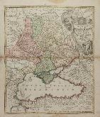 Altkolorierte Landkarte des Schwarzen Meeres. Gedruckt bei J. B. Homann um 1720 in Nürnberg.